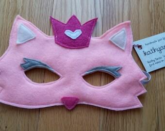 PINK PRINCESS CAT - Handmade Children's Felt Mask