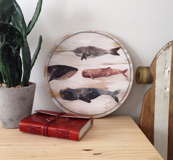 Whales Wall Art Design on Handpainted Timber Porthole / Turquoise and White