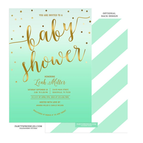 mint green gold baby shower invitation neutral for baby boy or girl