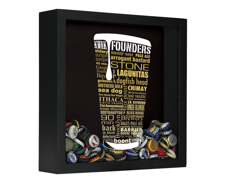 Craft beer typography beer cap shadow box beer by for Craft beer typography beer cap shadow box beer cap collector