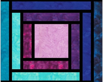 Stained Glass Log Cabin Paper Piece Foundation Quilting Block Pattern