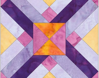 Interlaced Logs Paper Piece Template Quilting Block Pattern PDF