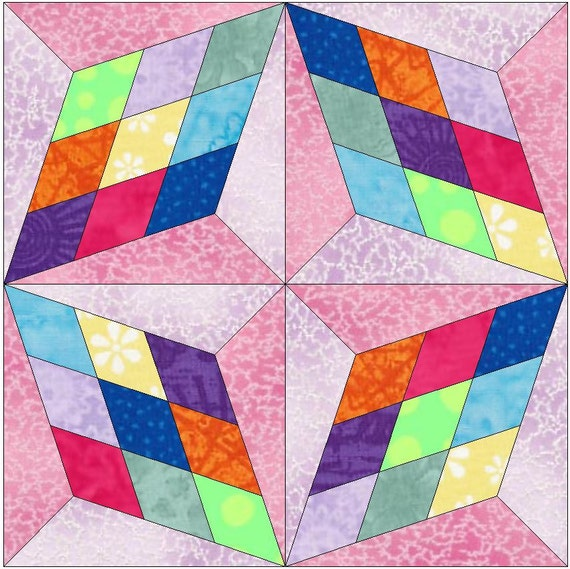 Four block star paper piece template quilting block pattern for Paper star pattern template