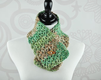 Crochet Neckwarmer - Green, Brown, and Cream - Scarf