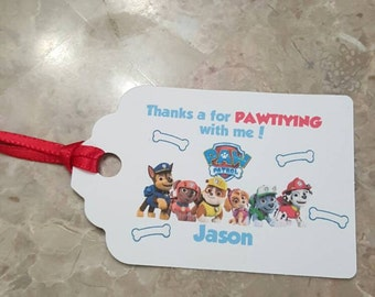 Personalized Favor Tags 2 1/2'', Thank You tags, Favor tags, Gift tags, Birthday Party paw patrol