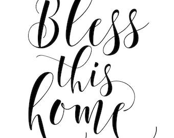 Bless This Home Household Printable Art | Christian Print | Christian Wall Art | Housewarming Gift | Christian Quote | Entryway Printable |