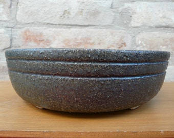 Hand thrown stoneware wood-fired round black bonsai pot