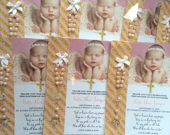 Pink & Gold Baptism Favor Cards