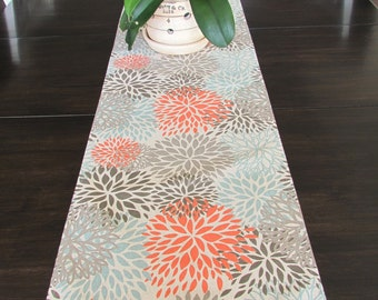 FALL TABLE RUNNER 12 x 48 Coral Table Runners Wedding Showers Coral Gray Blue Spa Blooms Gray 48 60 72 84 96