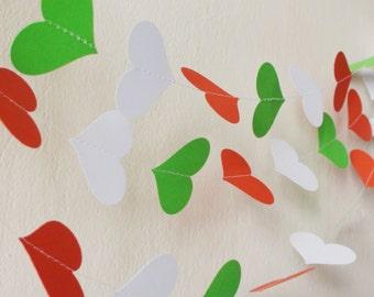 Green White Red paper heart garland , Italian party decor, Patriotic garland, Kids room decor,Nurser decor, Wedding decor