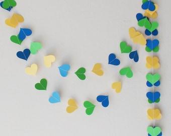 Yellow Green Blue paper heart garland , Brazilian party , Brazilian wedding, nursery decor, baby shower decor, wedding garland