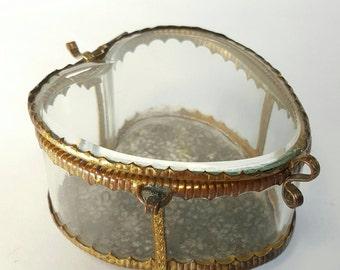 Antique Heart Shaped Jewelry Casket