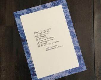 Jane Austen Quote (Northanger Abbey Quote) Typed on Typewriter