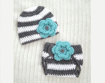 Baby girl gift, newborn photo prop, teal flower, hat and diaper cover set, baby shower gift, 0-3 month baby gift, baby girl hat, crochet