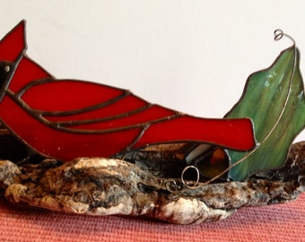 Stained Glass Cardinal and Oak Leaf Motif Mounted on Driftwood