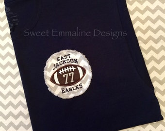 Raggy Football Applique Spirit Wear Tee-Short Sleeve T-shirt – Custom Spirit Wear Personalized Football Tshirt