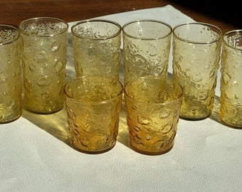 Set of 8 Vintage Honey Yellow Drinking Glass Tumblers with Crinkle Thumbprint Texture - Drinking Glasses