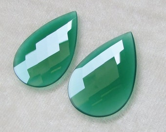 46x30 mm Pair (2 pcs) NATURAL genuine GREEN ONYX Pear checker Flat gemstone.....