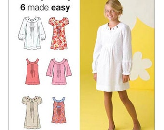 Simplicity Sewing Pattern 2715  Girls' Dress, Tunic with neckline and sleeve variations  Size:  A  7-8-10-12-14-16  Uncut