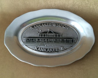 Pewtarex Plate, Kankakee Station, Kankakee IL, Vintage Oval Platter, Commemorative Plate, Souvenir Plate, Old Country, Reproductions Pewter