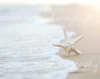 Star Fish In the Sand and Waves Print, Beach Decor, Sand and Sun