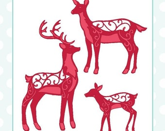 Sue Wilson Dies ~ Festive Collection Deer Family, CED3042 3-Piece Set