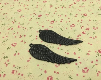 50pcs Black Color Metal Charms-Angel Wings / Eagle Wings charms pendant 50X15mm
