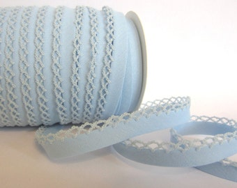 Bias binding with crocheted trim/crochet aqua