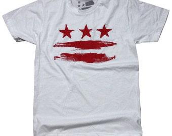 4XL - Washington DC Flag Tee (White)