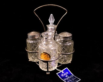 Vintage Cruet Set with Silver Plated Holder and 4 Crystal Cut Glass Bottles, Made in England by Eales of Sheffield