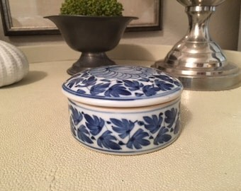 Small Blue and White Trinket Box
