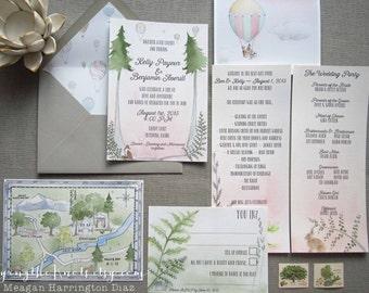 Woodland Wedding Invites - Custom Watercolor Wedding Suite - Fern Invitations - Custom Map with Venue - Maine Wedding - Hardy Farm Wedding