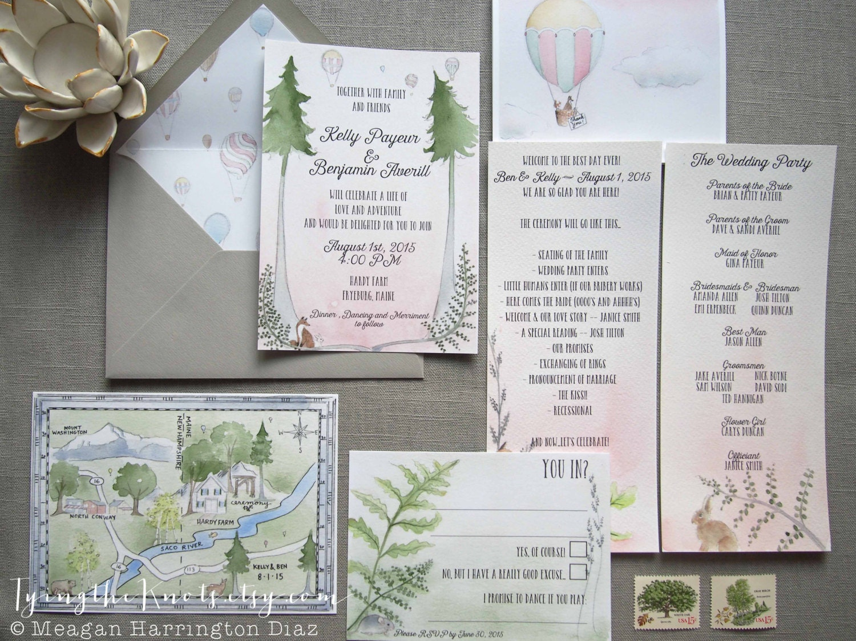 custom venue invite custom wedding invitations Woodland Wedding Invites Custom Watercolor Wedding Suite Fern Invitations Custom Map with Venue Maine Wedding Hardy Farm Wedding