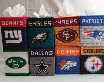 Football Team Tissue Box Covers ,Giants, Jets, Eagles, Cowboys,Steelers