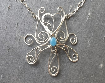 "Sterling Silver Filigree and Blue Chalcedony 18"" Necklace"