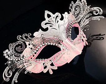 Mardi Gras Pink and silver laser cut metal mask ~ Carnival  Mask ~ Masquerade ~ Burlesque