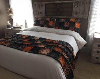 University of Tennessee Fabric - Queen Rag Quilt Bed Scarf with matching Pillows