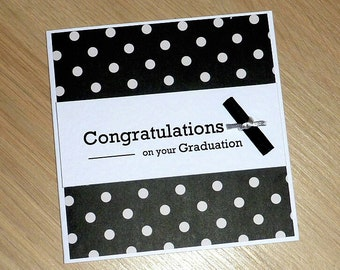 Graduation Congratulations card - with degree scroll - high school or university - handmade greeting card