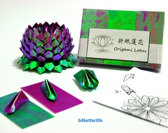 Pack Of 300 sheets Purple Color Origami Lotus Paper Folding Kit for Making 3 pcs of Size Small Lotus. (TX Paper Series). #LPK-34.