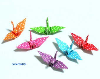100pcs Assorted Colors Origami Cranes Hand-folded From 3.2 x 3.2cm Square Paper. #MD112a. (MD paper series).