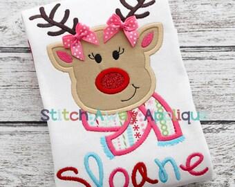 Reindeer Girl Christmas Machine Applique Design
