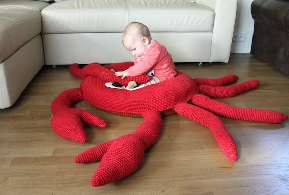Enormous Floor Pillows : LARGE Crochet crab / floor pillow / huge round carpet / large