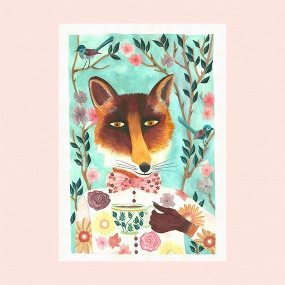 Art print, fox, home decor, children, fine art, Illustration, renard, impression, décor, chambre, enfant, livraison gratuite france