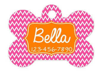 Personalized Bone Dog Tag - Custom Pet ID Tag - Pink Orange Chevron