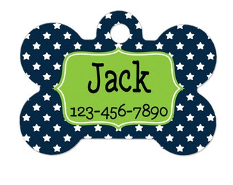 Pet Tag for Dogs  - Star Pet Tag - Custom Pet Tag - Dog Pet Tag - Navy Blue & Lime Green Personalized Pet Tag