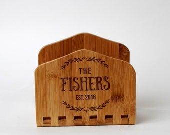 Bamboo Engraved Napkin Holder - Personalized Wedding Gift for Bride & Groom