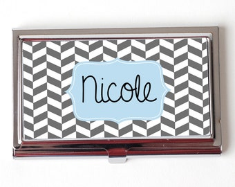 Personalized Corporate Gift - Gray Herringbone Business Card Case