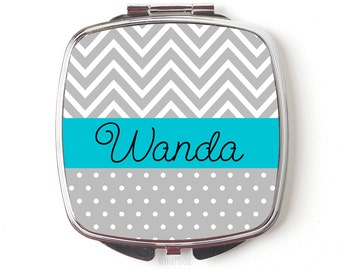 Personalized Compact Mirror - Turquoise & Gray Personalized Bridesmaids Gifts - Personalized Purse Mirror