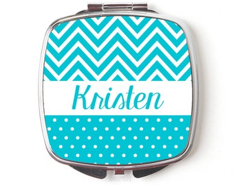 Personalized Compact Mirror - Turquoise Personalized Bridesmaids Gifts -  Personalized Purse Mirror