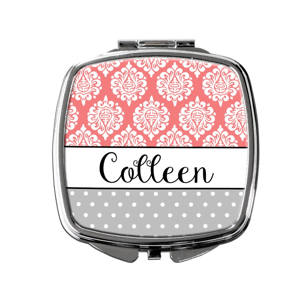 personalized compact mirror coral gray personalized. Black Bedroom Furniture Sets. Home Design Ideas